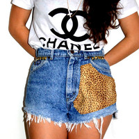 Vintage Lee High Waisted Studded Cheetah Shorts