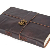 Large Brown Leather Journal with C-Lock Closure.