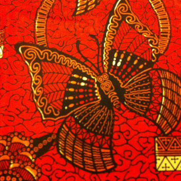 Dutch African Wax Print Fabric by the HALF YARD. Orange/Red, Brown, and Rust Butterflies