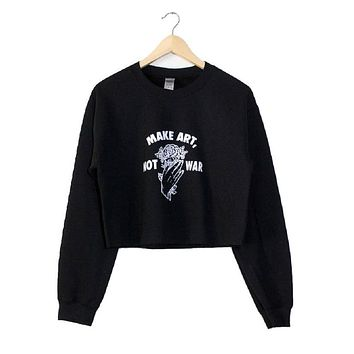 Make Art, Not War Black Graphic Cropped Crewneck Sweatshirt