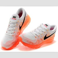 NIKE air cushion flying line woven rainbow casual shoes sports shoes White orange