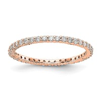 1/2ct Natural Diamond Wedding Ring Womens Stackable Eternity Band 14k Rose Gold