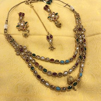 1Gm Gold iIndian Traditional Necklace Set