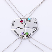 "4pcs set ""best friend forever and ever"" BFF Friend Necklace Set 4 Pieces Heart Shape Puzzle Hand Stamped Friendship Jewelry"