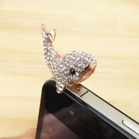 Delicate White Crystal Alloy Whale Anti Dust Plug - 3.5mm Smart Phone Headphone Cap Dustproof Plug Charms for iPhone 4 4S 5 HTC, Samsung