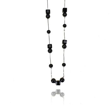 Long Square Beaded Necklace, 34-Inch