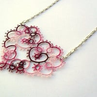 romantic heart necklace, pink, burgundy, handmade tatted lace