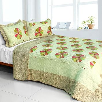 [Round Midnight] Cotton 3PC Vermicelli-Quilted Patchwork Quilt Set (Full/Queen Size)