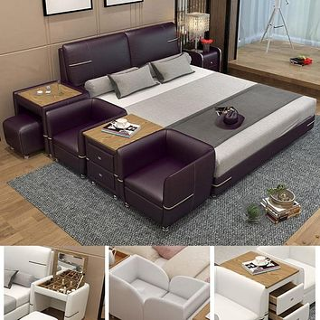 Comfortable Soft Bed with Dresser Stool made of Leather