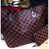 "LV ""Louis Vuitton"" Classic Popular Women Shopping Leather Handbag Tote Cosmetic Bag Two Piece Set I/A"