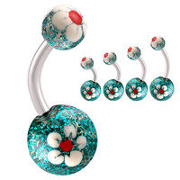 Glitter Ball End Belly Button Ring [Gauge: 14G - 1.6mm] 316L Surgical Steel (Green) & Acrylic For Girls  (Various Lengths)  (BHPG20)