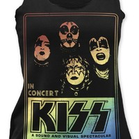 Kiss Women's Vintage Tank Top T-shirt - Kiss In Concert Tonight Promotional Poster Artwork | Black Shirt