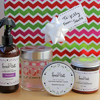 Spoiled Kitty Christmas Gift Set, All Natural Cat Litter Box Cleaner, Deodorizer and Organic Catnip, Customized Treat Jar, Pet Lover Gift