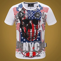 Philipp Plein Women or Men Fashion Casual Multicolor Pattern Print Shirt Top Tee