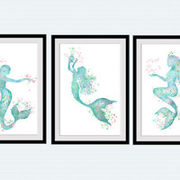 Mermaid art poster Set of 3 prints Mermaid watercolor Home decoration Set of 3 mermaids wall decor Nursery room wall art Kids room decor S22