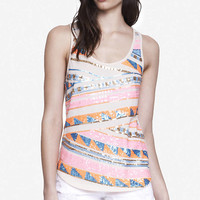 ZIGZAG AZTEC EMBELLISHED TANK from EXPRESS