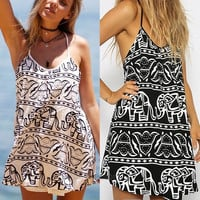 Sexy Women Casual Beach Sleeveless Elephant Print Mini Dress Summer Sundress  7_S SV020781 = 1917077828