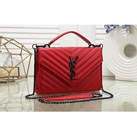 "Samplefine2 ""YSL"" Saint Laurent ladies rhombic embroidery thread chain slung shoulder bag handbag Red"