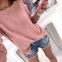 Causal Autumn Women Sweater Knitted Pullover Solid Sweater Zipper Back Female Oversized Sweater WS2274M