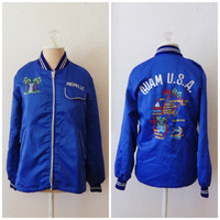 Vintage 60s Women's Guam USA Embroidered Military Souvenir Tour Jacket XSmall - Small Embroidered Michelle