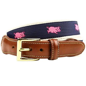 Prancing Pig Leather Tab Belt in Navy by Country Club Prep