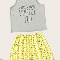 Plus Lemon & Letter Print Pajama Set