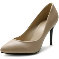 Ollio Women's Shoe D'Orsay High Heel Pointed Toe Simple Pump