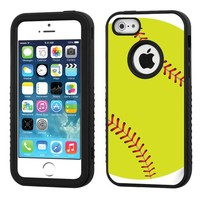 One Tough Shield ® 3-Layer Hybrid Case (Black/Black) for Apple iPhone 5C - (Softball Green)