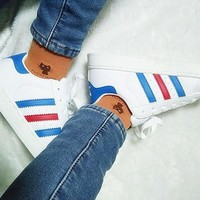 Adidas Fashion Shell-toe Flats Sneakers Sport Shoes White (blue red line)