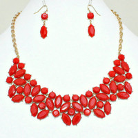 Statement Necklace, Red Necklace, Bib Necklace, Designer Inspired, Free Earrings, Holiday Gift for Her.