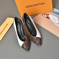 LV Fashion Trending Leather Women High Heels Shoes Women Sandals Heel