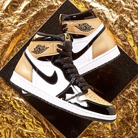 NIKE AIR JORDAN 1 Fashion New Hook Women Men Contrast Color High Top shoes