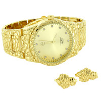 Men's Gold Tone Nugget Watch 14K Gold Finish Silver Sterling Earrings Combo Set
