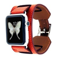 Coral Leather Ribbed iWatch Band