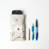 Iphone 6 sleeve, Cherry blossom fabric, fabric IPhone cover, phone sleeve Samsung Galaxy s4 s5, IPhone 6, HTC m8, handmade in the UK