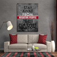 Stay Away From Negative People They Have A Problem For Every Solution Framed Canvas Wall Art