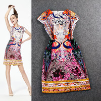 Mixed Color Floral Printed Sleeveless Zipper Back Mini Dress