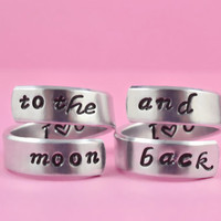 I love you to the moon and back - Spiral Rings Set, Hand stamped Aluminum Rings, Forever Love, Friendship
