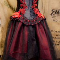 Tulle Gothic Prom Dress, Red and Black tutu skirt and Wedding Burlesque Corset costume Top