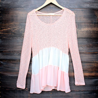 ruffle me up sweater tunic , peach