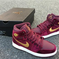 Nike Air Jordan 1 High Retro PRM GS Velvet Heiress Maroon 832596-640