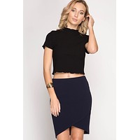 Midi Bodycon Skirt with Overlapping front - Navy