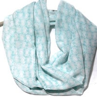 Light Blue Infinity Scarf. Circle scarf. Loop Scarf. Women Accessories.