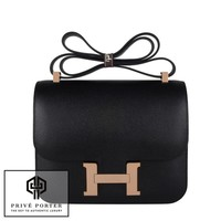 BLACK CONSTANCE VERSO 24CM HERMES EPSOM LEATHER BAG ROSE PINK GOLD GHW BNIB