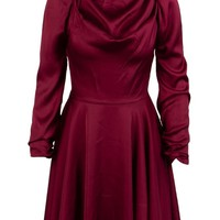 Thrill Of It All Burgundy Long Sleeve Mock Neck Ruched Draped Flare A Line Mini Dress