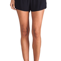 MONROW Crepe Dolphin Shorts in Black
