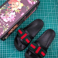 Gucci Black Satin Slide With Web Bow Slides Sandals - Best Online Sale