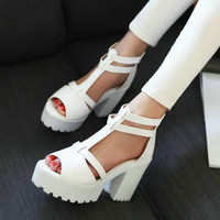 Casual Ankle Wrap High Heel Shoes