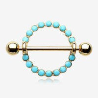 A Pair of Golden Aureole Turquoise Nipple Shield Ring