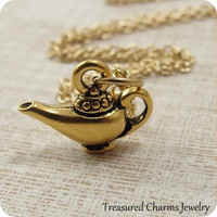 Aladdins Lamp Necklace, Gold Plated Magic Genie Charm on a Gold Cable Chain